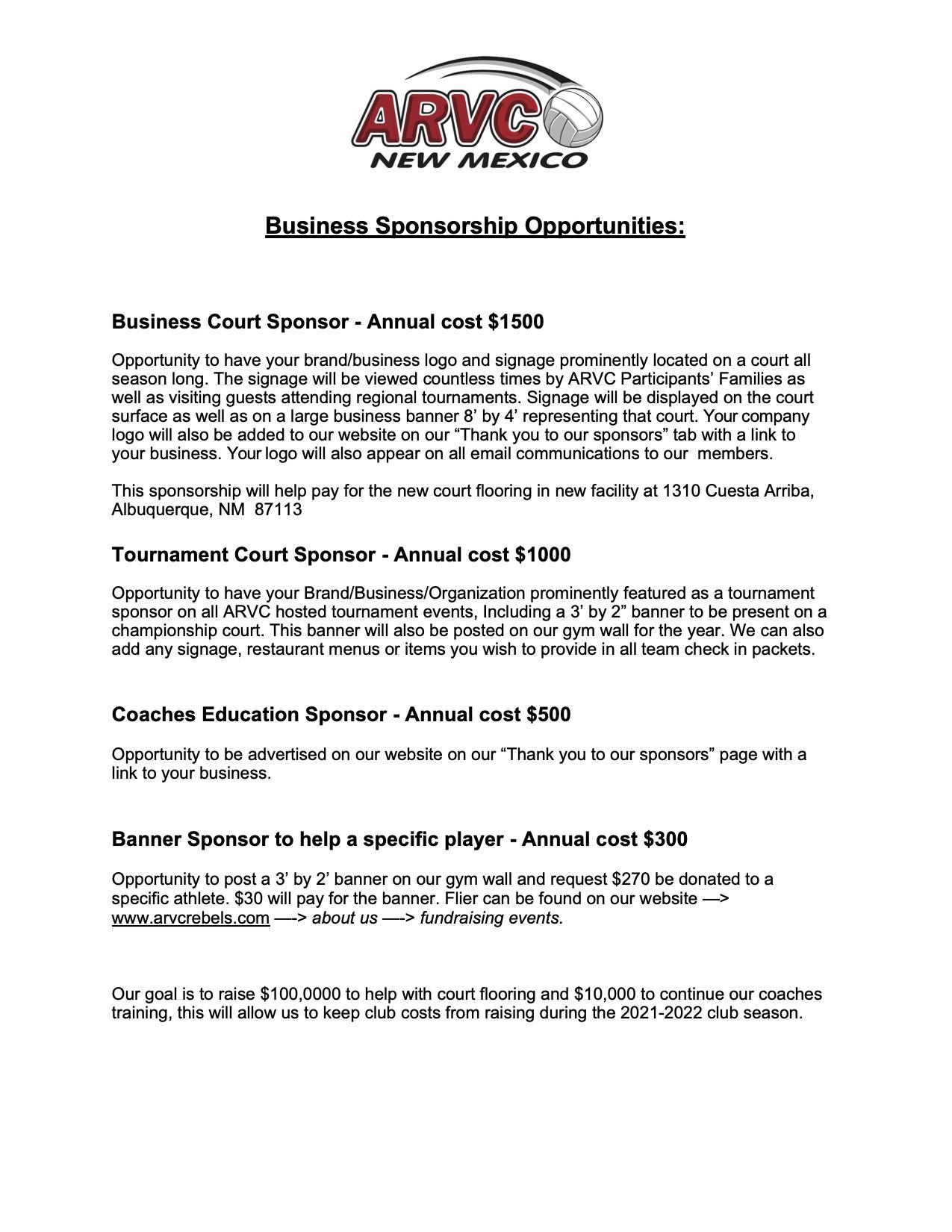 Sponsorship Opportunities 2021