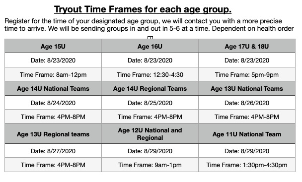 Tryout dates 2020-21